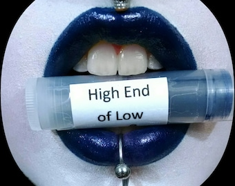 High End of Low by Drac Makens - Deep Navy Blue with Red Shimmer - Marilyn Manson Inspired Lipstick Gothic