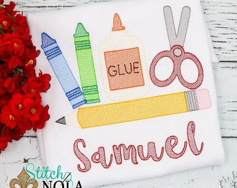Back to School Sketch Embroidery, Back to School , Crayons, Glue, Scissors, Pencil