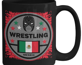 Mexico Flag Masked Wrestling 15oz Black Coffee Cup