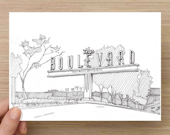 Drawing of El Cajon Boulevard Sign  - Mid Century, San Diego, Ink Drawing, Sketch, 5x7 Print, Art, Illustration, Architecture, Pen & Ink