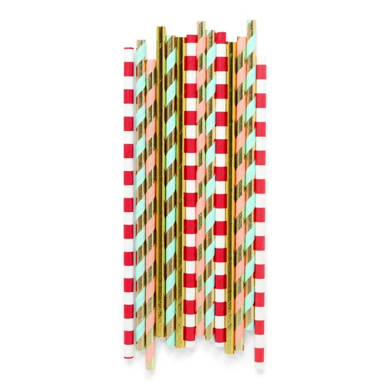 Dr. Seuss Christmas (2) Straw, Paper Straw, Red Straw, Christmas Straw, Holiday Straw, Holiday Happy Hour, Christmas Drinks, Gold Decor