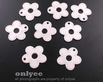 4pcs-17mmX17mmMatt Rhodium plated Brass Daisy flower Charms,pendants(K552S)