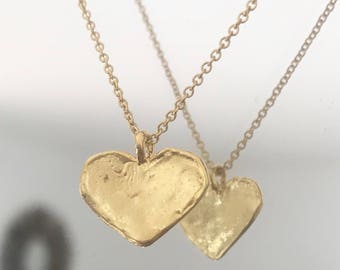 gold plated Heart Necklace / hammered heart / Heart Necklace gold / mothers day gift