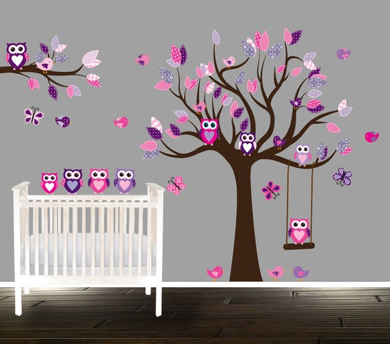 Elegant Floral Pink And Purple Owl Wall Decal Nursery Tree Decals For