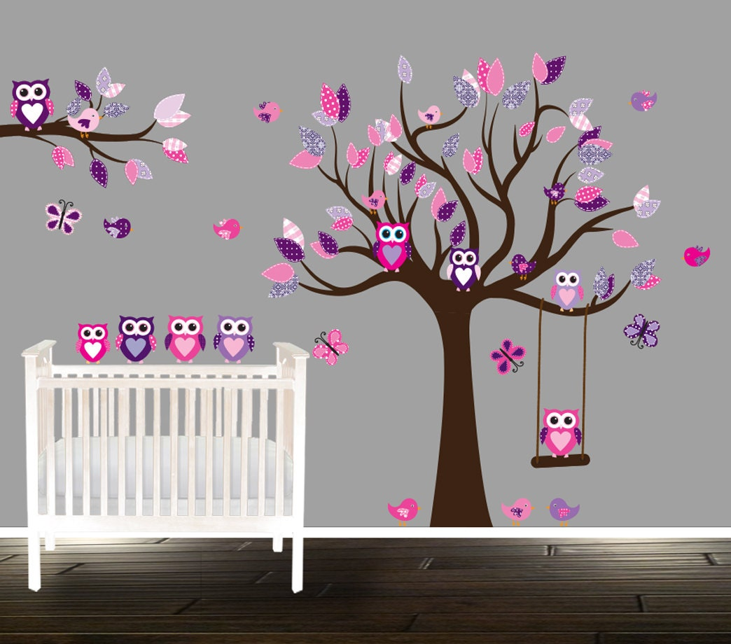 ?zoom & Floral pink and purple owl wall decal nursery tree decals for