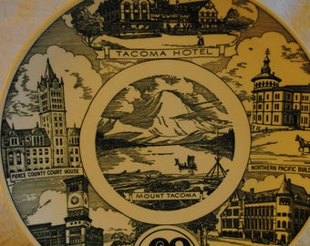 Vintage City of Tacoma Washington centennial Decorative collectible plate by Kettlesprings Kilns