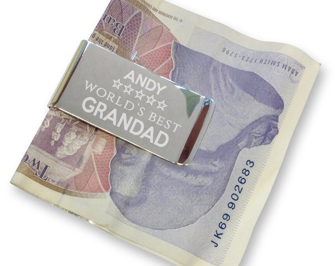 Personalised engraved grandad grandpa MONEY CLIP, World's best - silver plated  - WB2