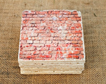 Brick Wall Design - Set of 4 Stone Drink Coasters