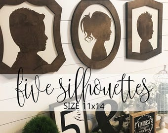Farmhouse Style Silhouettes (QUANTITY 5) 11x14 MORE COLORS / child silhouettes / child portraits / wood silhouettes