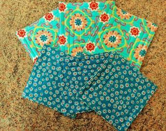 Quilted fabric coasters set of six, drink mats, aqua and pink floral reversible coasters, handmade mug mats