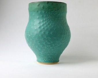 Green Vase with Low-Relief Texture