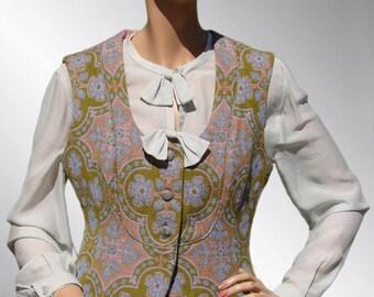 Vintage 1970s Vest Floral Tapestry