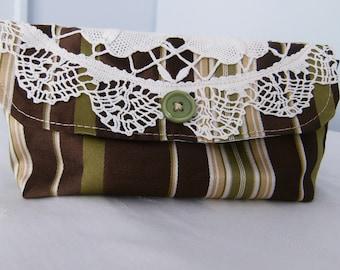 Cloth Clutch, Mini Clutch, Upcycled Clutch, Cloth Purse, Fabric Purse, Lined Clutch, Green & Brown Striped Clutch