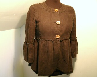 J Crew Cotton Linen Jacket Earthy Forest Brown Wooden Wood Buttons 3/4 Bell Sleeves No Collar Rounded Neckline Women's Size Small Medium