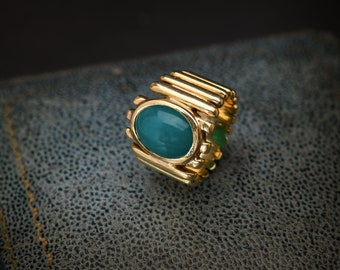 Unique Bold Gold and Green Jade Antique Ring