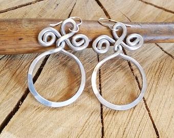 Aluminum Circle With Twist Big Hoop Earrings, Large Hoops, Hammered Hoop Long Dangle Earrings, Doorknockers Statement Jewelry Gift for Women