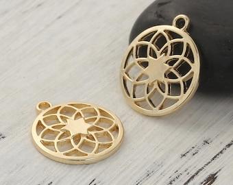5 charms style Mandala / Buddhist openwork gilt 2,3cm / Zen Collection