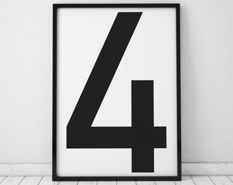 Number 4 Print, Wall Art, Scandinavian Art, Scandinavian Poster, number 4 Poster, Number 4 Print, INSTANT DOWNLOAD