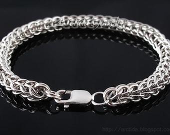 Herrenarmband Full Persian Chainmaille Sterling Silberarmband - Herren Schmuck Männer Mode südwestlichen sexy männlich männlich Armbänder für Männer