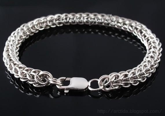 Men bracelet Full Persian chainmaille sterling silver bracelet
