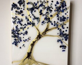 """Mothers Love Tree 8x10"""" Original Alcohol Ink Painting Sealed with Glossy Resin and Stones """"Elegance"""""""