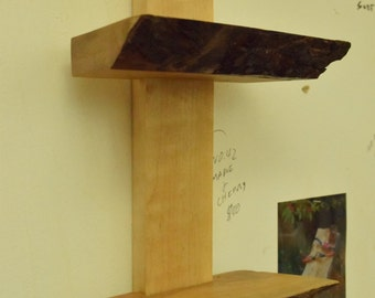 No. 42 - Two Level Maple and Cherry Live Edge Shelf