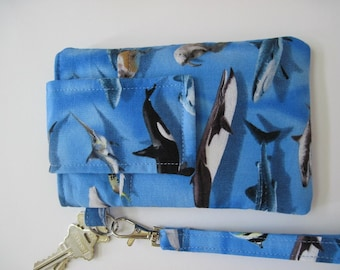 "Whale Smartphone Wristlet, Fits iPhone 5 and Smartphones up to 5.25"" x 2.75"", Pocket and Keyring , Small Cell Phone Wristlet, Shark Wristlet"