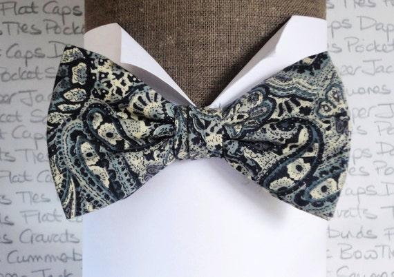Paisley print bow tie, Bow ties for men, Men,s bow ties, Navy paisley bow tie
