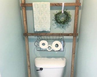Toilet Ladder // Bathroom Decoration // Towel Decor // Storage Solution // Half Bathroom // Rustic // Farmhouse Country Style