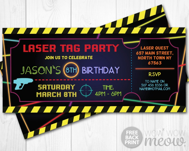 Laser Tag Invitations Ticket Birthday Party Let\'s Glow