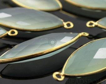 Natural Chalcedony, Bezel Marquise Shape Gemstone Component, Gold Vermeil,  12x25mm 1 Piece, (BZC7179)