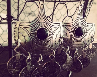 Earring antique silver, gypsy coins, drop earring, black pearl, ethnic