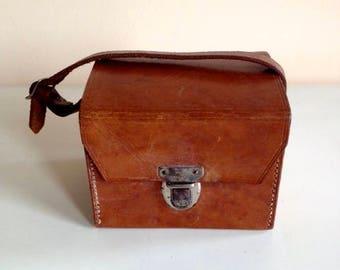 Leather  vintage camera box