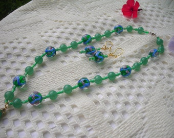 ON SALE: My green floral LAMPWORK and glass beaded choker-necklace & matched earrings set.