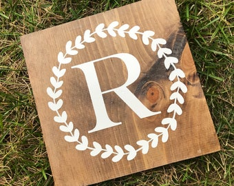 Family initial wood sign | home decor | floral wreath | wedding gift | handpainted decor | last name sign | farmhouse style | wooden sign |