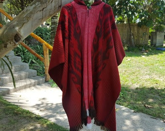 Alpaca Poncho Hooded Closed Red w/stripes, Made in Ecuador