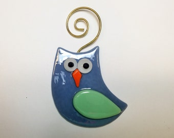 Fused Glass Green & Grey Owl Tree Ornament