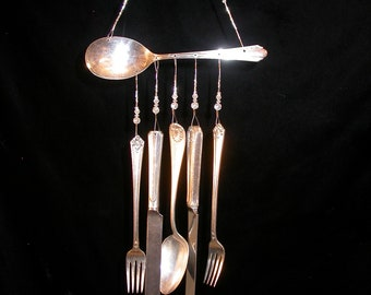 Wind Chimes Silver Plate Spoon with Silverware Vintage Unique Whimsical Upcycled
