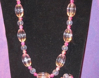 Clear OVAL SHADES of PINK Jewelry Set
