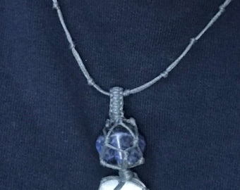 Handmade Grey Macrame Necklace with 2 Healing Stones - Selenite and Sodalite