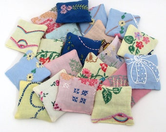 20 Dried Lavender Sachets - Embroidered Sachets - Colorful - Assorted Colored Fabrics - Party Favor - Vintage Linens - Embroidery