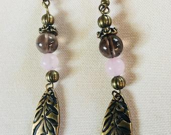 Rose Quartz and Smoky Quartz earrings
