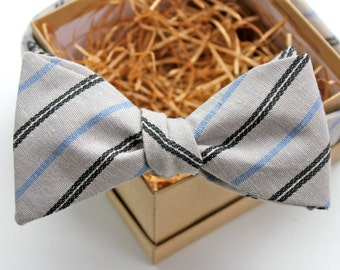 Grey Striped Bow Tie - Mens Freestyle Bow Tie - Womens Bow Tie - Adjustable Bow Tie - Vintage Bow Tie - Grey and Navy Bow Tie