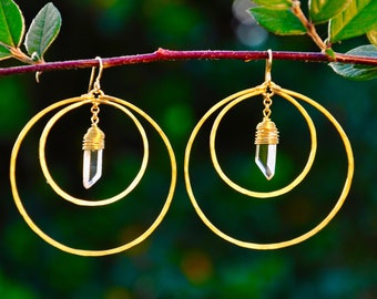 Hammered Large Eclipse Hoop Earrings Quartz Crystal Point Brass Gold Fill Ear Wires