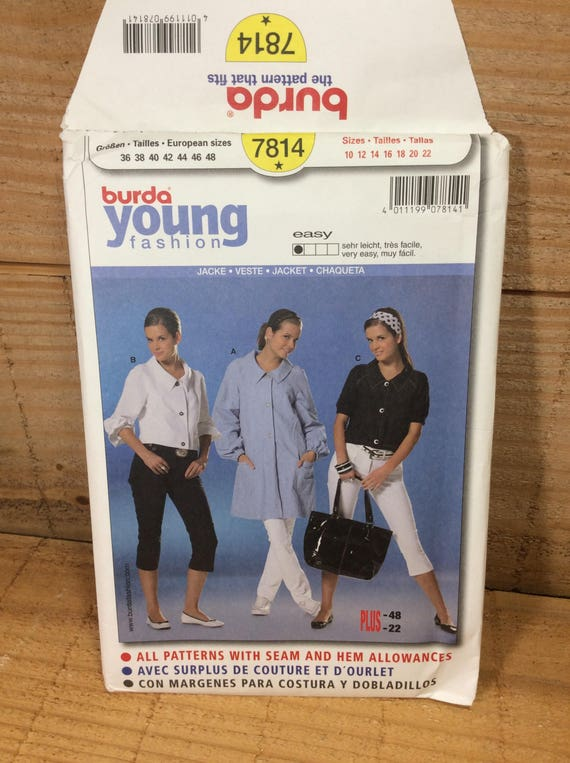 Uncut Burda Young fashion pattern, Burda 7814, 2.50 US shipping, semi fitted jacket, pattern by Verlag Aenne Burda, super jacket by Burda