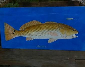 """Original Redfish painting, 12""""x24"""" acrylic on panel.READY TO SHIP !"""