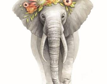 Patterned Elephant with flower crown Illustration - Safari Animal Nursery Art - Elephant Watercolour Print - Art by Alicia's Infinity