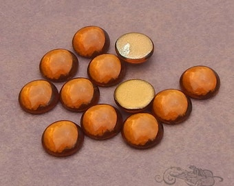 Vintage Cabochons - 13 mm Smoky Topas - 6 West German Glass Stones