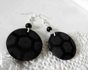 Black dotted fabric earrings
