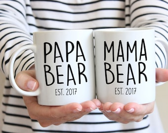 Papa & Mama Bear Established Coffee Mugs- Wedding Gift - Anniversary Gift - Couple's Mugs - Wedding Gift -Bride and Groom - Engagement Gift